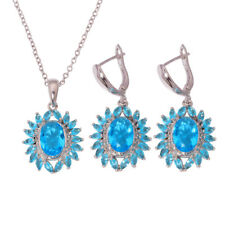 Aquamarine Silver Fashion for Women Necklace Pendant Earrings Jewelry Set NT213
