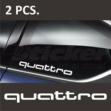 2 pcs. Audi quattro Window Decal sticker emblem logo White