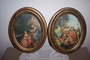 """2 Victorian Women scenes Handcrafted In Italy (Action Brand) Oval Frame 8"""""""
