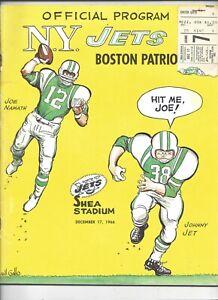 1969 12/17 football program Boston Patriots New York Jets VG w ticket Joe Namath