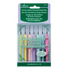 Clover 3675 Amour Steel Crochet Hook Set 7 Sizes NEW
