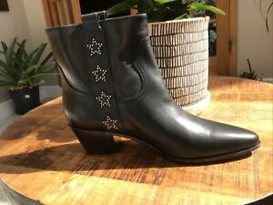 Yves Saint Laurent Rockstar Bootie Black Leather Size 39 Or 9US NIB