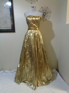 80s JC PENNEY GOLD LAME STRAPLESS FULL SKIRT DISCO/EVENING/PARTY MAXI DRESS SZ S
