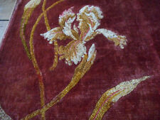 Antique French Iris Floral Embroidered Velvet Fabric Panel ~Burnt Rust Red Ochre