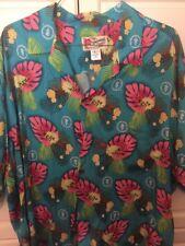 The Hawaiian Original Hilo Hattie Blue Men's Button Down Luau Veterinary 3XL