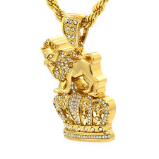 "14k Gold Plated Iced Out Royal Lion Crown Cz Hip Hop Pendant 4mm 30"" Rope Chain"