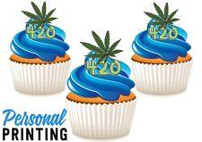 420 HASH SIGN - 12 Edible Cupcake Toppers love weed marijuana stoner