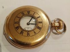 99p No Reserve! ANTIQUE SWISS GOLD PLATED HALF HUNTER POCKET WATCH DENNISON CASE