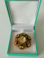 Vintage Large Gold Tone Green Yellow Glass Faceted Brooch Pin Statement Bold VGC