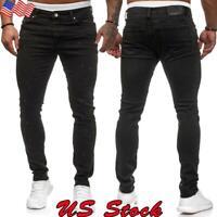 US Men Jeans Pants Stretch Slim Fit Denim Trouser Skinny Sports Jogger Sweatpant