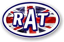 Oval Retro RAT Ratlook Ratrod Union Jack Flag STP Style Vinyl car sticker Decal