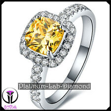 3.00Ct Princess Lab Grown Diamond Real Platinum PT950 Engagement Gold Ring SARA