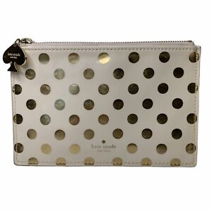 Kate Spade Ivory Gold Polka Dot ZipClosure Gold Hardware Pouch Wallet 8.5 X 5.5