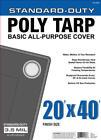 Blue 3.5 Mil Standard Duty Poly Tarp UV Water Mildew Tear Resist CHOOSE SIZE