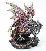 "Mythical Hand Paint Dragon Statue Pink 7.5"" Medieval Dark Legend Western Decor."