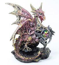 "Mythical Hand Paint Dragon Statue Pink 7.5"" Medieval Dark Legend Western Decor."