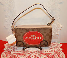 Authentic Coach Signature Horse And Carriage Wristlet/Wallet Khaki NWT $88.