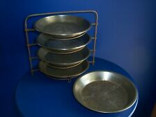 Old 4 Wire Blue Bird Pie Tin Holder / 3 Original Bb Pie Tins & 2 Other