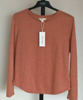 M&S Marks & Spencer Per Una Sizes 10-24 Terracotta Mix Long Sleeve Top Bnwt