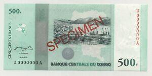 Congo Dem. Rep. 500 Francs 30-6-2010 Pick 100.s Uncirculated Banknote Specimen