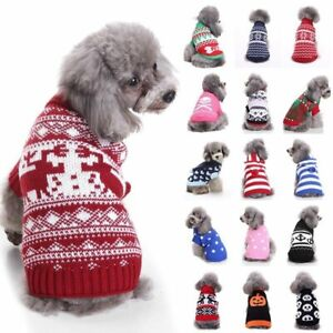 Christmas Pet Dog Cat Knit Sweater Puppy Pet Xmas Clothes Apparel Outfit Costume