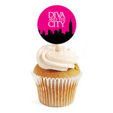 """12 Diva Sex in the City Bachelorette Shower Birthday 2"""" Round Cupcake Toppers"""