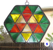 Stained glass sun-catcher window pendant - green, red, yellow