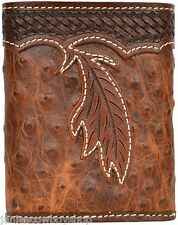 3D Tooled Western Men's Wallet Brown Ostrich Stamped Feather Trifold  Rodeo