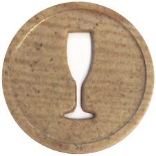 More details for champagne wooden token 29mm  - bag of 1000 - home drinking, reward, christmas