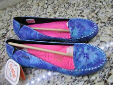 NEW CUSHE LAMU BLUE FLORAL MOCCASIN LOAFER FLATS SHOES WOMENS 10 FREE SHIP