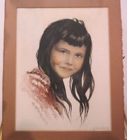 "Vintage Original Hand Colored Etching of ""Gina"" by Roger Hebbelinck Listed"