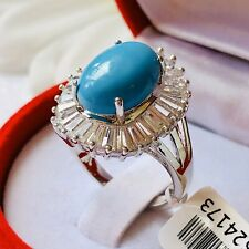Howlite & Simulated Diamond Silver Plated Brass Ring Size M
