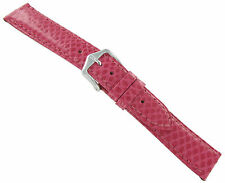 18mm Hirsch Genuine Snake Leather Pink Hand Crafted Padded Stitched Watch Band