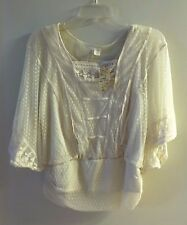ADIVA IVORY LACE BLOUSE WITH IVORY TANK ATTACHED UNDERNEATH SIZE M NWT