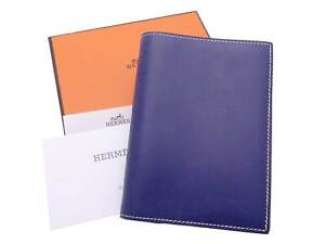 HERMES Square D (2000) Note/Agenda Cover Navy Blue/Light Blue Boxcalf - e47259f