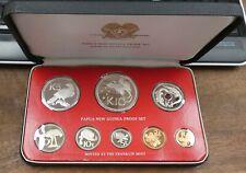 Franklin Mint Papua New Guinea Proof Set 8 Coins With Box & Coa - b