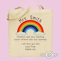 Large PERSONALISED Tote Bag Thank You Teacher School Gift Rainbow