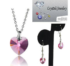 Rose Pink necklace and earring 2 pcs set with pouch White Gold Plate