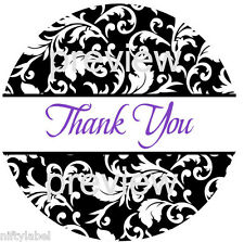 Black Swirl Design 111 Thank You Sticker Labels Laser Printed