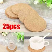 25pcs Plain Round Cork Coasters Coffee Drink Tea Cup Mat Placemats Wine Mat #JP