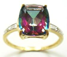 NICE 10KT YELLOW GOLD CUSHION CUT MYSTIC TOPAZ & DIAMOND RING SIZE 7   R1442