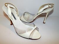 Manolo Blahnik White Patent Leather Clear Lucite Heels 39.5 US sz 9 M Italy
