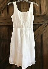 White Summer Lined Sundress Smocked Small Pockets Tie Back Dress Casual Mossimo