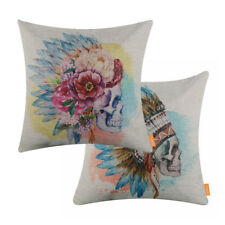 Indiana Sugar Skull Throw Pillow Case Mexican Art Day of the Dead Cushion Cover