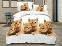 3D Animal Duvet Cover Set Bedding Quilt Sheet Pillowcase Single Double King 4pcs