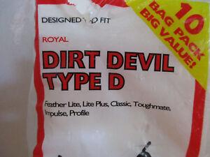 10 Type D bags Dirt Devil Vacuum Cleaner Bags Feather Lite Lite Plus Classic