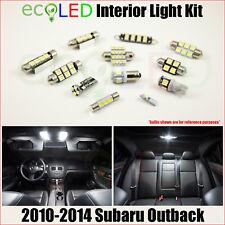 Fits 2010-2014 Subaru Outback WHITE LED Interior Light Accessories Kit 6 Bulbs