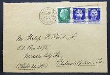 Italy Cover Roma USA Vittorio Emanuele Stamp 50c Pair Paar Italien Brief (H-7708