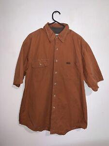 Carhartt Short Sleeve Button Up Shirt Classic Brown Mens Size L