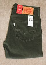 New Mens Levis 32 X 34 Corduroy Pants 511 Slim Fit Green Cords Cotton Stretch
